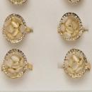Modischer Cateye-Ringe mit Steinen, Rosegold