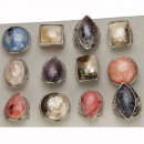 Assortment pearl rings, colored