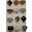 Range of natural stone rings, XL faceted,