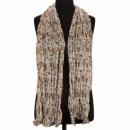 Crinkle sjaal, 160x50cm, Bruin-Beige