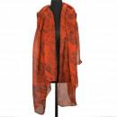 Sjaal, oranje-zwart, 180x90cm