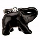 Tegenhanger van de olifant, 40mm, Zwarte Agaat