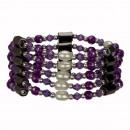 Open magnetische kralen ketting, Purple