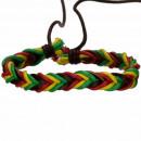 Leren armband, bruin-rood-geel-groen