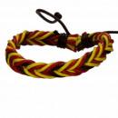 Leren armband, bruin-rood-geel