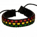groothandel Sieraden & horloges: Lederen band,  zwart, rood en geel-groen