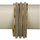 Großhandel Schmuck & Uhren: 7teiliges  Armreifenset, Weiß-Gold