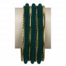 grossiste Bijoux & Montres: 7teiliges  Armreifenset, Vert-Gold