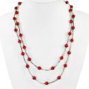 Großhandel Ketten:Lange Perlenkette, Rot