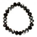 Armband met glaskralen, Zilver / Zwart