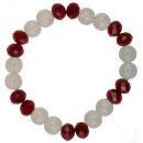 wholesale Drinking Glasses: Bracelet with glass beads, red and white