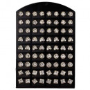 Set: 36 pairs of  stainless steel earrings with sto