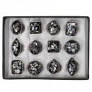 Range of pearl rings, black - new design!