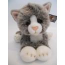 Großhandel Puppen & Plüsch: Liegende grau/weiße Katze, 32 cm