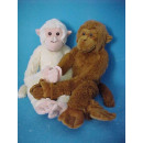 Plush monkeys,  2fach sort., Brown / cream, 60 cm