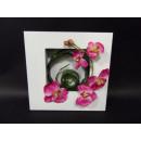 Bild Rahmen mit Orchidee weiß pink 3D Optik