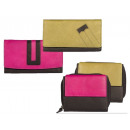 Ladies wallet leather with colorful rollover assor