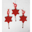 Wooden star for hanging, red