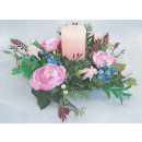 "wholesale Artificial Flowers: Table wreath with candle ""rose pink"""