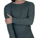 Mens thermal shirt  long and ribbed in anthracite
