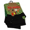 Großhandel Strümpfe & Socken: Bunt geringelte Zehensocken in NEON Farben
