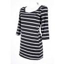 Damen Shirt mit 3/4 Ärmeln (Schwarz/Weiß)