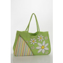 wholesale Handbags: Shopper, with stripes and flowers