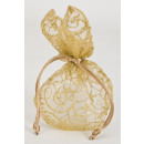 Gold organza bag with star and Ornamental Designs