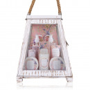 Bath set SECRET GARDEN in large wooden lantern