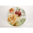 wholesale Crockery: Large round glass  plate with flower design