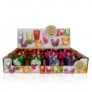 groothandel Kaarsen & standaards: Geurkaars in glas, 6 verschillende kleuren / geure