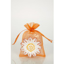 Organza bag embroidered with flower,