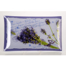 Medium rectangular  glass plate with lavender