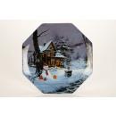 groothandel Servies: Grote glazen  Borden met kerst motief