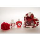 mayorista Regalos y papeleria: Set de baño rosa  roja en caja de regalo en forma d