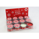 Scented candle in metal tin with snowflake motif