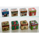 Square metal boxes with Christmas motifs