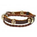grossiste Bijoux & Montres: Bracelet en cuir  collection OSCAR avec deux bouton