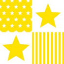 Napkin Star Stripes Yellow