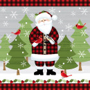 Serviette Red  Lodge Santa 25cm x 25cm