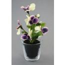 grossiste Fleurs artificielles: Pansies avec des  balles 16cm violet / blanc