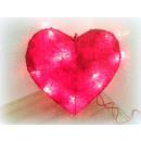 grossiste Chaines de lumieres: Coeur sisal avec Licherkette 25cm