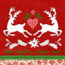 Serviette Dancing  Deers red 33cm x 33cm