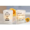 Großhandel Windlichter & Laternen: Glas Windlicht Gute Laune.... 7cm