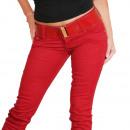 Signore jeans con cintura a 3 pulsanti Röhrenhose
