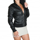 wholesale Coats & Jackets: Faux Leather  Jacket Women's Leather Look Black