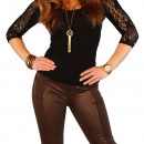 wholesale Trousers: Treggings with  synthetic leather trousers Jeans Je