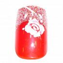 Großhandel Drogerie & Kosmetik: 12 Airbrush Nails Tips Rot mit Rose & Glitzer