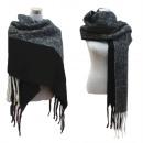 wholesale Dresses: XXL Winter Scarf  Scarf Fringe Knit Black