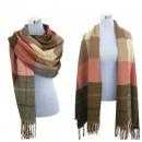 Großhandel Fashion & Accessoires: XXL Winter Schal  Damen Tartan Plaid Rosa Beige